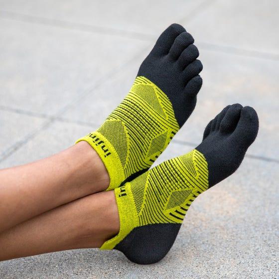 injinji run lightweight noshow coolmax limeade toe socks