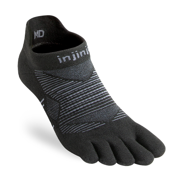 injinji run lightweight noshow coolmax noir toe socks